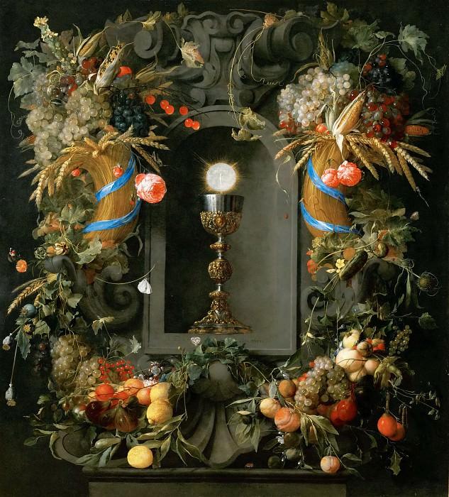 Jan Davidsz. de Heem (1606-1683 or 1684) -- Chalice and Host with Garlands. Kunsthistorisches Museum