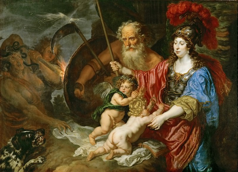 Joachim von Sandrart I (1606-1688) -- Minerva and Saturn Protecting Art and Science from Envy and Lies. Kunsthistorisches Museum