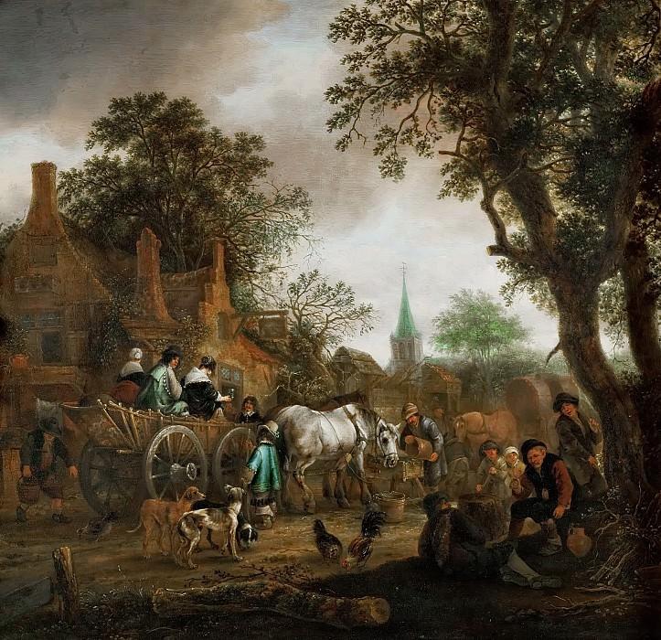 Адриан ван Остаде - Повозка у сельской таверны. Музей истории искусств