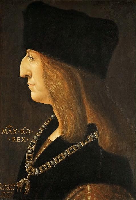 Giovanni Ambrogio de Predis (c. 1455-after 1508) -- Maximilian I, Holy Roman Emperor (1459-1519). Kunsthistorisches Museum