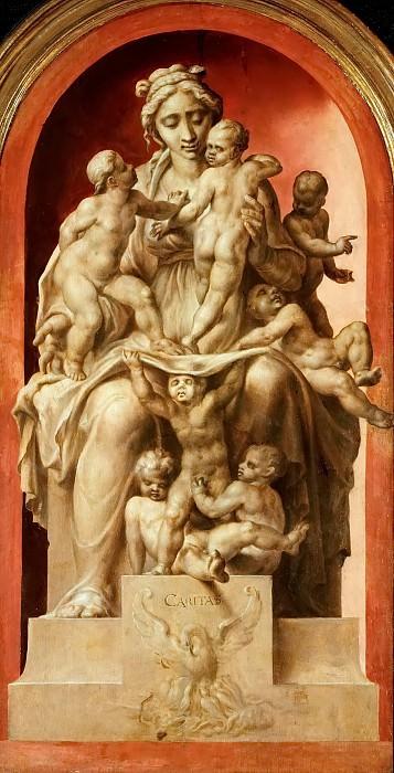 Maerten van Heemskerck (1498-1574) -- Charity (Caritas), grisaille. Kunsthistorisches Museum