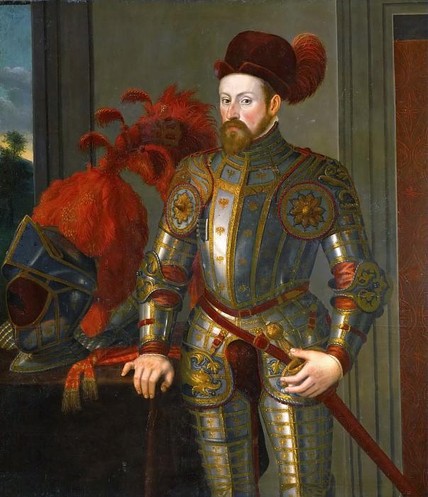 Francesco Terzio ? -- Archduke Ferdinand II, knee length, in armor. Kunsthistorisches Museum