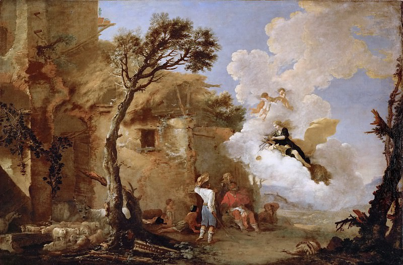 Salvator Rosa (1615-1673) -- Astrea, Goddess of Agriculture and Fertility, Turns Away from Earth and Leaves Scales and Sword to the Shepherds. Kunsthistorisches Museum