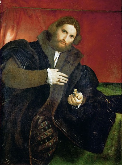Lorenzo Lotto -- Man with a golden animal claw (Leonino Brembate?). Kunsthistorisches Museum