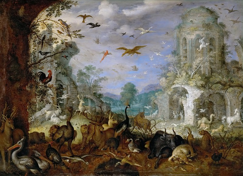 Roelandt Savery (1576-1639) -- Landscape with Animals and Orpheus. Kunsthistorisches Museum