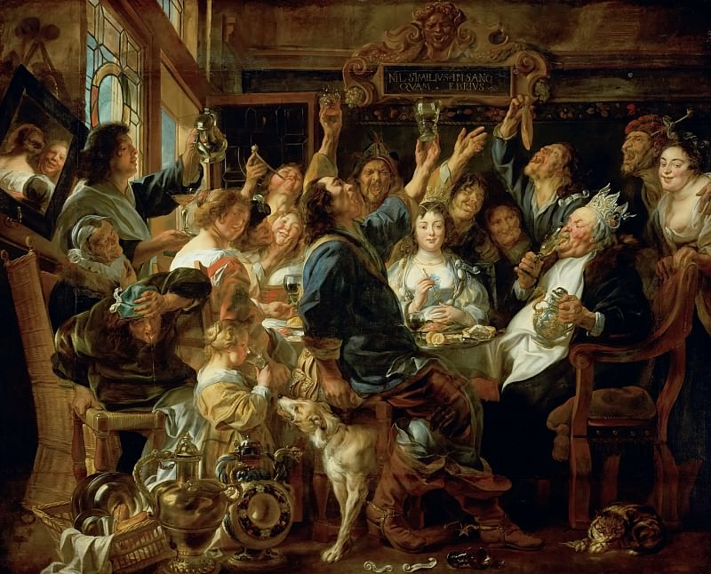 Jacob Jordaens the Elder (1593-1678) -- Banquet of the Bean King. Kunsthistorisches Museum