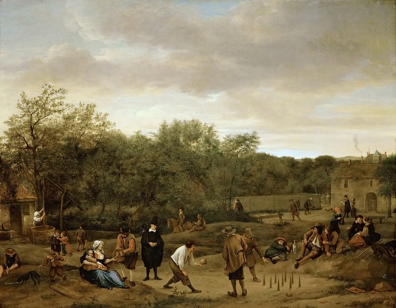Jan Steen -- Farmers Playing at Skittles. Kunsthistorisches Museum