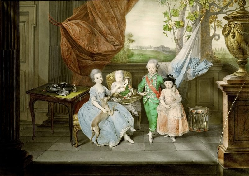 Johann Zoffany -- Prince Ludwig of Parma, later Lodovico I, King of Etruria, with his three oldest Sisters Karoline, Marie Antonie and Charlotte. Kunsthistorisches Museum