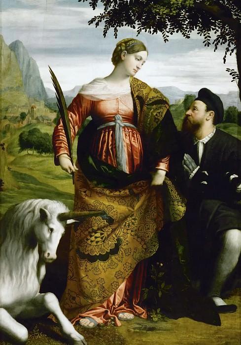 Moretto da Brescia -- Saint Justina adored by a donor. Kunsthistorisches Museum