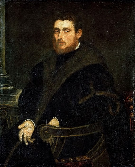 Jacopo Tintoretto -- Young Man with a Red Beard in an Armchair. Kunsthistorisches Museum
