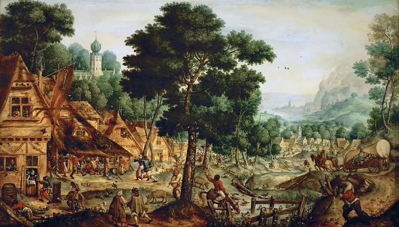Hans Bol (1534-1593) -- Life in a Flemish Village. Kunsthistorisches Museum