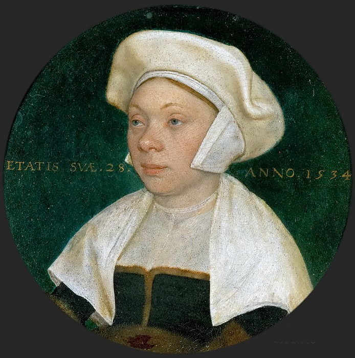 Hans Holbein the Younger (1497 or 1498-1543) -- Portrait of the Wife of a Courtier of King Henry VIII of England. Kunsthistorisches Museum