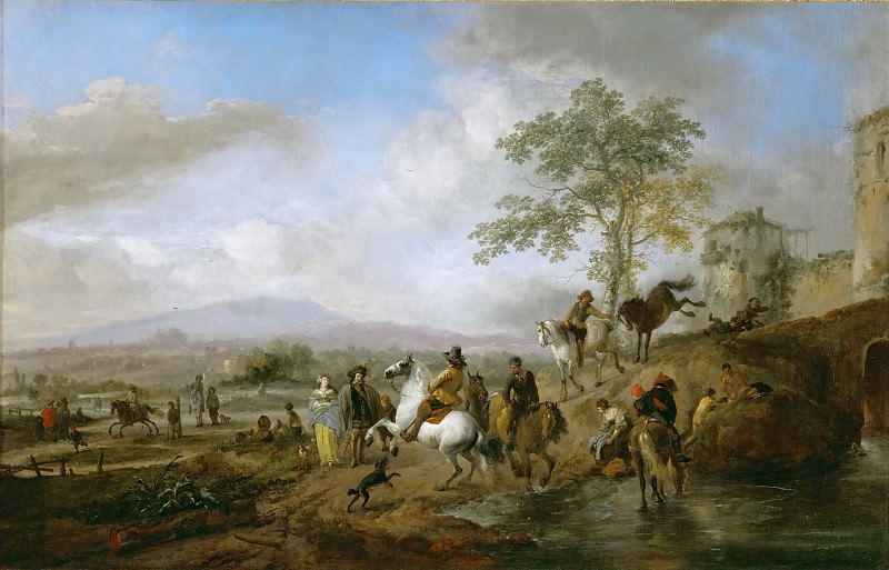 Philips Wouwerman -- Riding school and horse watering place. Kunsthistorisches Museum