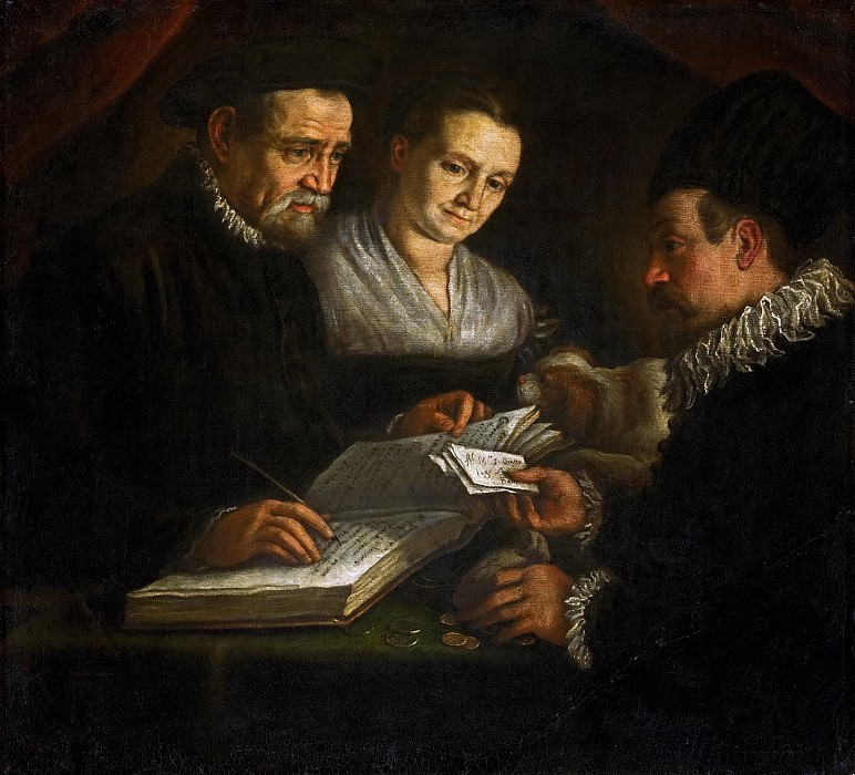 Leandro Bassano (1557-1622) -- Orazio Lago, His Wife, and a Client. Kunsthistorisches Museum