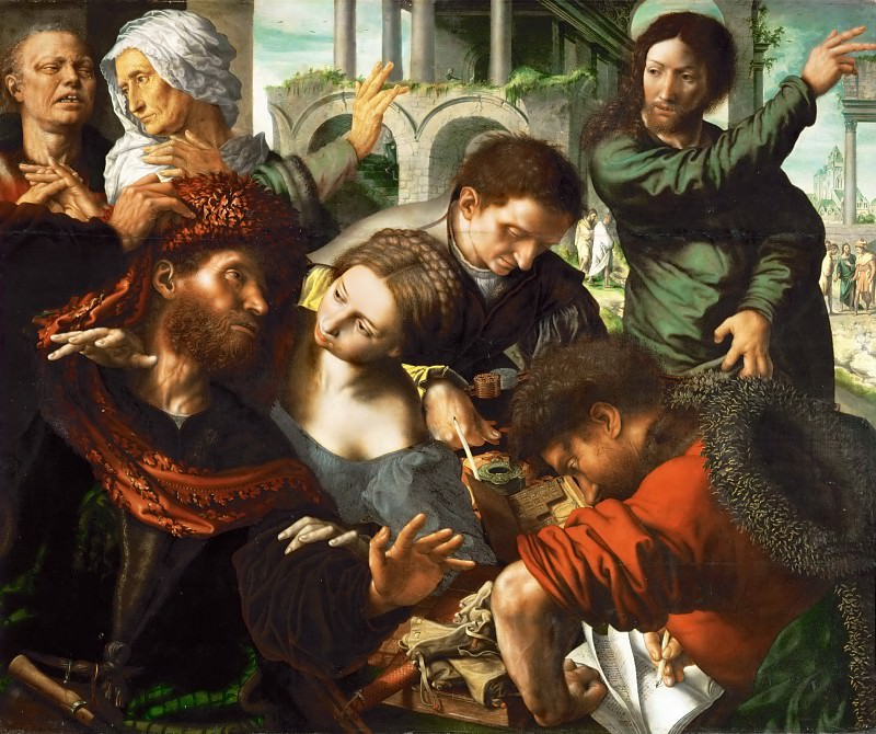 Jan van Hemessen (c. 1500-c. 1575) -- Saint Matthew Called to Join the Apostles (Calling of Matthew). Kunsthistorisches Museum