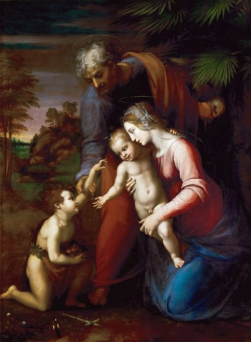Raphael and workshop, perhaps Giulio Romano -- Holy Family with the young Johannes. Kunsthistorisches Museum