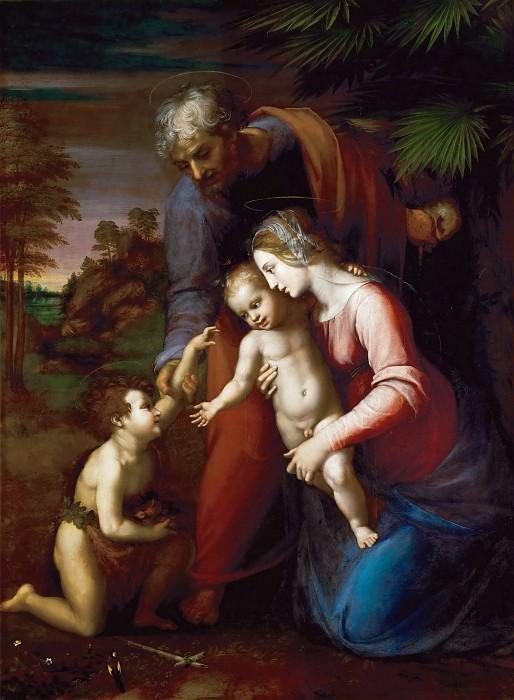 Святое Семейство с маленьким Иоанном Крестителем в пейзаже (мастерская по рисунку Рафаэля). Рафаэль Санти