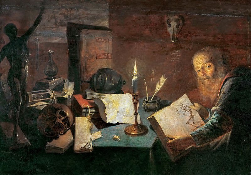 David Ryckaert III (1612-1662) -- The Alchemist, detail. Kunsthistorisches Museum