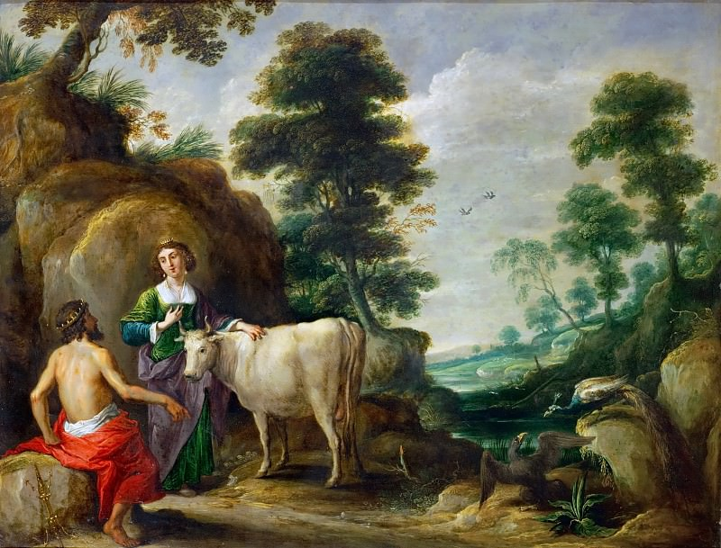 David Teniers I -- Io, transformed into a cow, is handed to Juno by Jupiter. Kunsthistorisches Museum