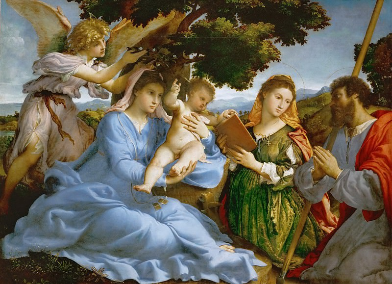 Lorenzo Lotto -- Virgin and child with Saints Catherine of Alexandria and James the Elder. Kunsthistorisches Museum