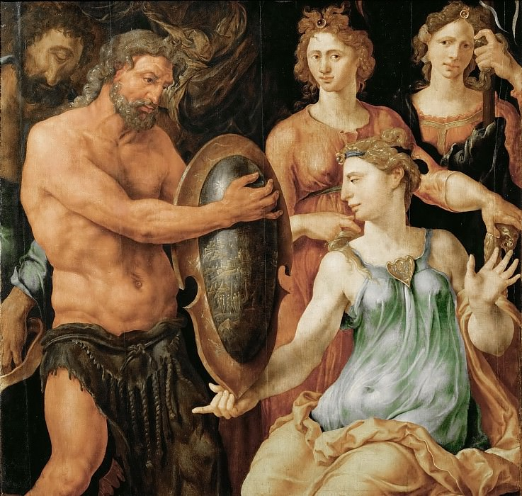 Maerten van Heemskerck (1498-1574) -- Vulcan Handing Thetis the Shield for Achilles. Kunsthistorisches Museum