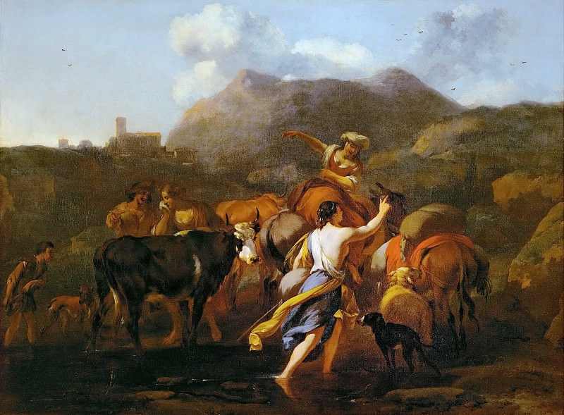 Nicolaes Berchem the Elder (1620-1683) -- Cowherds and Herd. Kunsthistorisches Museum