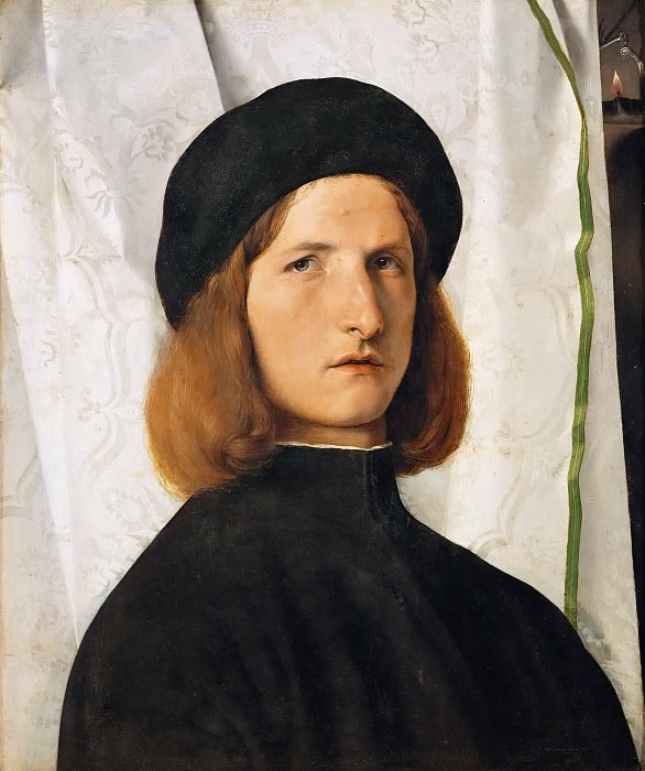 Lorenzo Lotto -- Portrait of a young man in front of a white curtain. Kunsthistorisches Museum