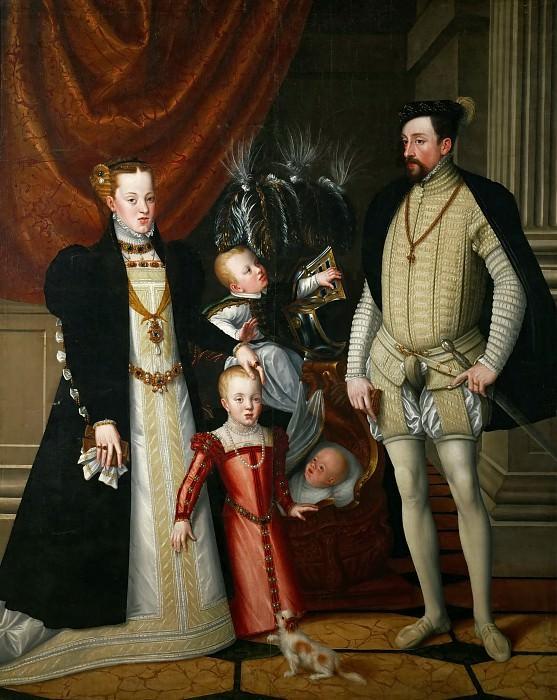 Максимилиан II (1527-1576) с супругой Марией Испанской и детьми Анной, Рудольфои и Эрнстом. Джузеппе Арчимбольдо