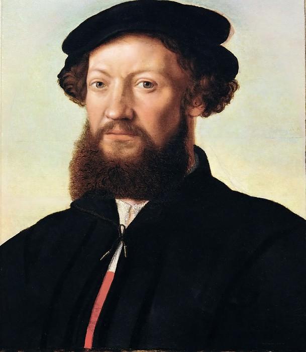 Jan van Hemessen (c. 1500-c. 1575) -- Portrait of a Man in Black. Kunsthistorisches Museum
