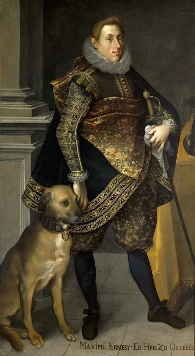 Joseph Heintz the Younger (c. 1600-1678) -- Archduke Maximilian Ernst von Habsburg (1583-1616) with a Setter. Kunsthistorisches Museum