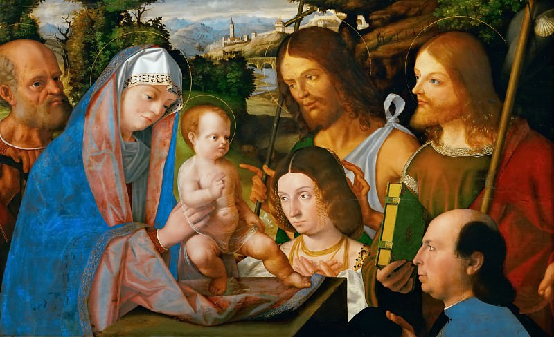 Andrea Previtali (c. 1470-1528) -- Holy Family with Saint James and John the Baptist and Two Donors. Kunsthistorisches Museum