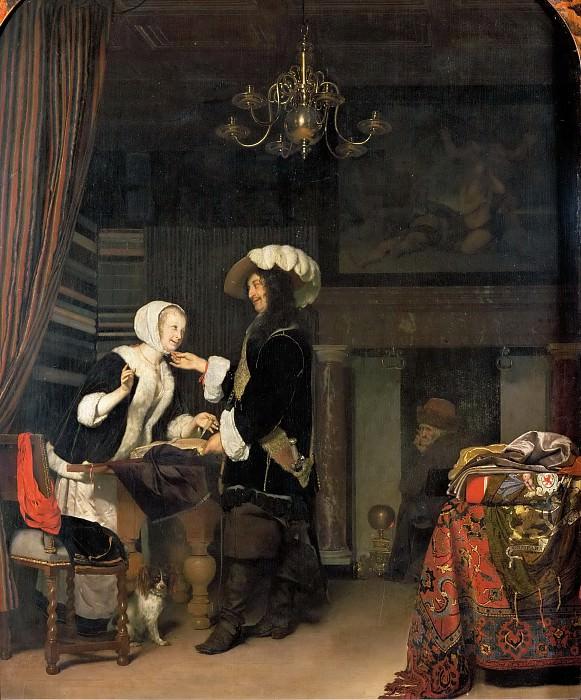 Frans van Mieris -- Cavalier in a draper shop. Kunsthistorisches Museum