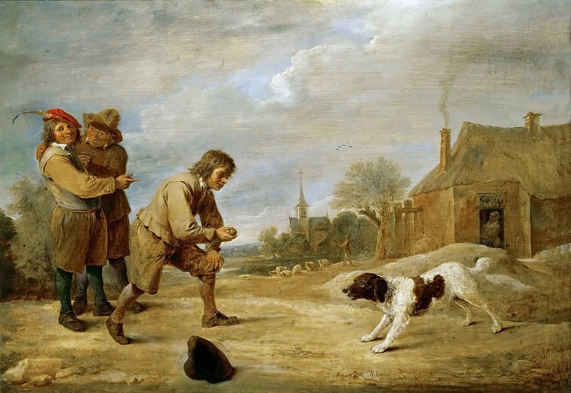 David Teniers II -- Farmboy with a Dog. Kunsthistorisches Museum