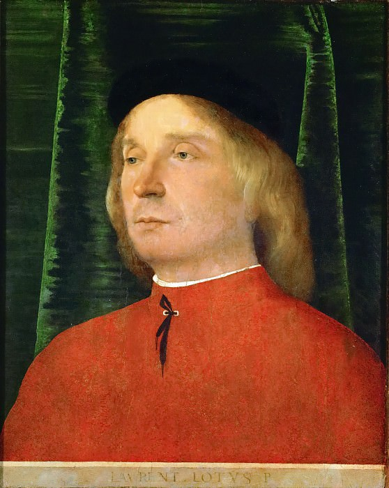 Lorenzo Lotto -- Young man in a red jacket. Kunsthistorisches Museum