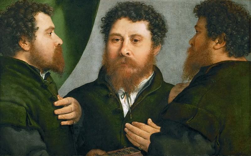 Lorenzo Lotto -- Portrait of a goldsmith in three views. Kunsthistorisches Museum