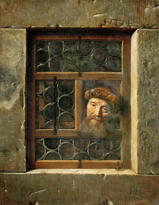 Samuel van Hoogstraten (1627-1678) -- Man at the Window. Kunsthistorisches Museum