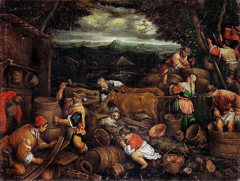 Francesco Bassano II (1549-1592) -- Autumn (Grape Harvest). Kunsthistorisches Museum
