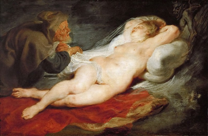 Peter Paul Rubens -- Hermit and Sleeping Angelica. Kunsthistorisches Museum