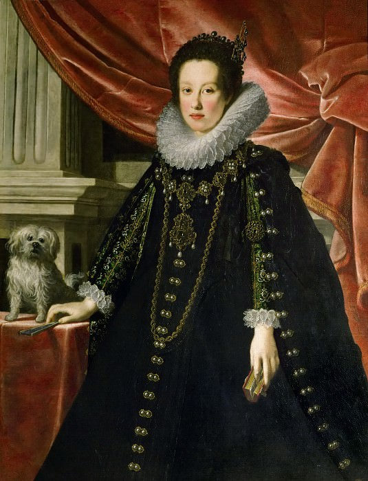 Justus Suttermans -- Archduchess Anna de Medici, with a puppy, knee length. Kunsthistorisches Museum