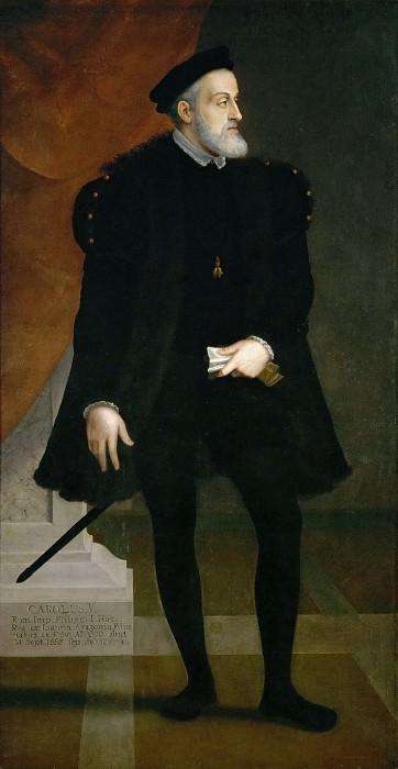 Francesco Terzio -- Emperor Karl V at age 50 in full figure. Kunsthistorisches Museum
