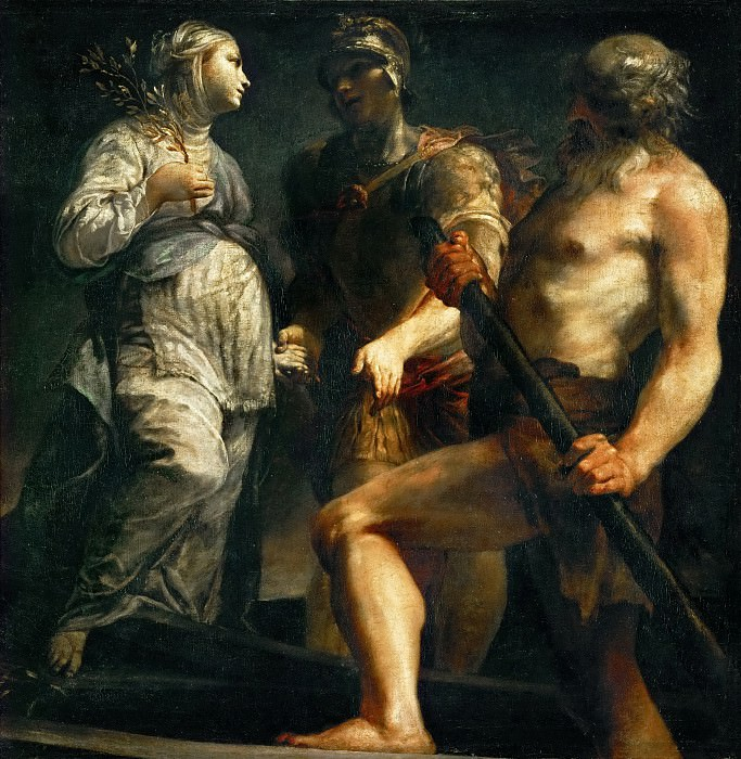 Giuseppe Maria Crespi -- Aeneas, the Sibyl and Charon. Kunsthistorisches Museum