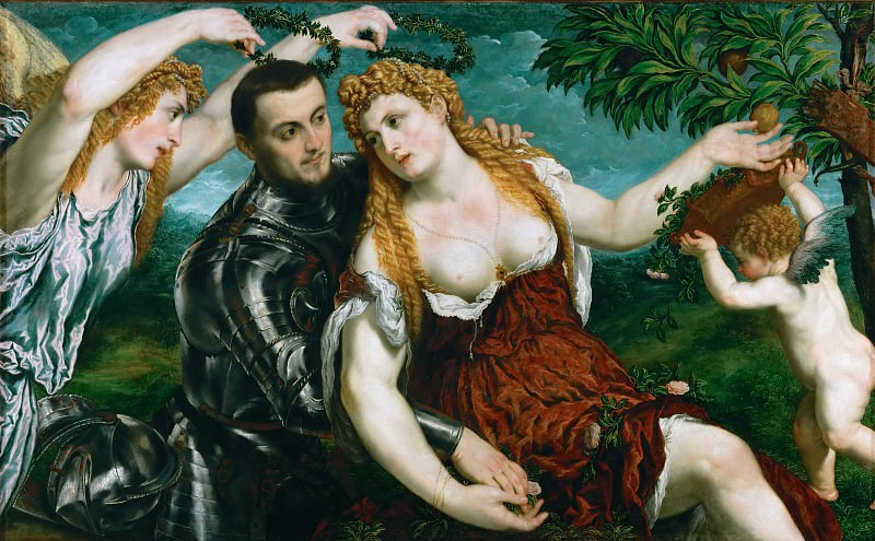 Paris Bordone (1500-1571) -- Venus, Mars, and Cupid Crowned by Victory. Kunsthistorisches Museum