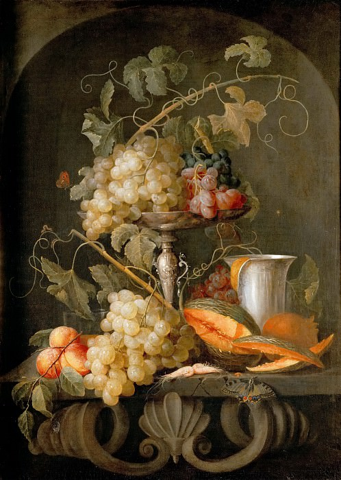 Jan van den Hecke the Elder (1620-1684) -- Still Life with Fruits. Kunsthistorisches Museum
