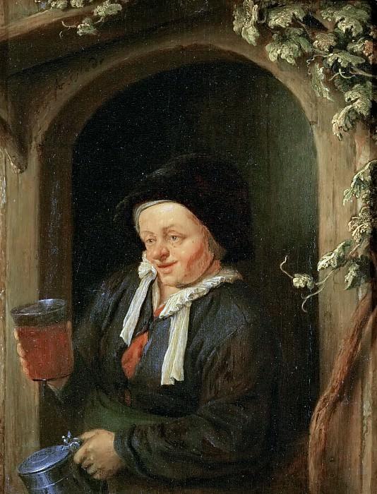 Adriaen van Ostade -- Woman at the Window with Jug and Beer Glass. Kunsthistorisches Museum