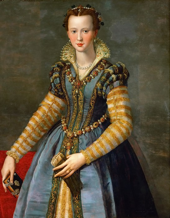Allori,Alessandro -- Maria de Medici (1540-1557) Oil on poplar wood, 114,5 x 89,5 cm Ascribed to Allori, identification doubtful.. Kunsthistorisches Museum