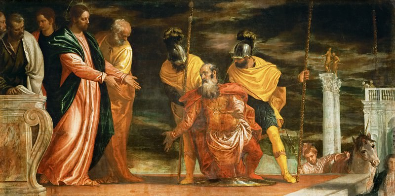 Paolo Veronese -- Centurion of Capernaum who begs Jesus to heal his paralyzed servant. Kunsthistorisches Museum