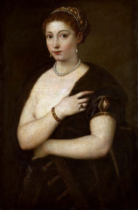 Titian -- Young Woman with Fur. Kunsthistorisches Museum