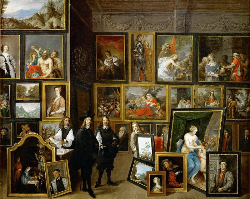 David Teniers II -- Archduke Leopold Wilhelm (with Teniers' self-portrait) among his works of art in the archduke's gallery in Brussels. Kunsthistorisches Museum