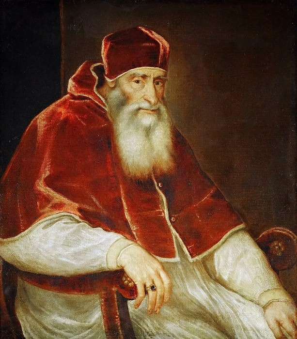 Titian -- Pope Paul III Farnese. Kunsthistorisches Museum