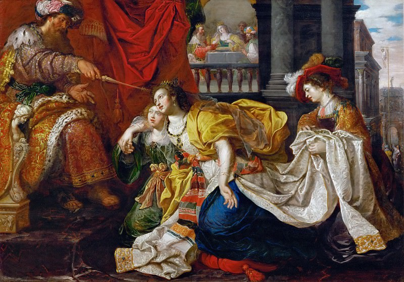 Kaspar van den Hoecke (active 1595-after 1648) -- Esther Before Ahasuerus. Kunsthistorisches Museum